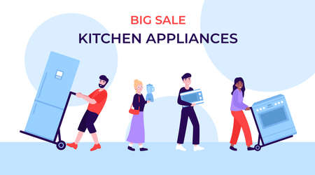 Big Sale of kitchen appliances, happy buyers at the sale of equipment. Flat vector cartoon concept illustration.
