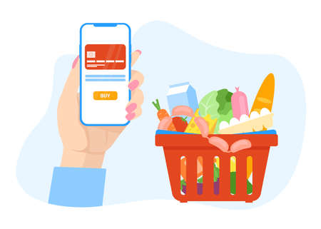 Woman hand holds mobile phone and reserve food online. Shopping cart with products. Phone with credit card. Flat vector illustration concept for banner, poster, layout, template, website. Stock Illustratie