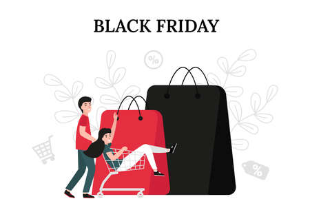 Black friday sale concept, happy couple people with shopping cart. Flat vector cartoon modern illustration for banner, poster, template, layout.