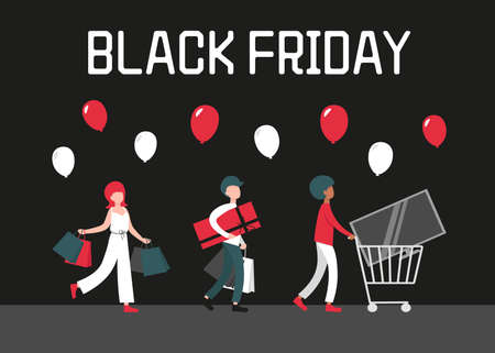 Black friday sale concept, people with home appliances and shopping bags. Flat vector cartoon modern illustration for banner, poster, template, layout on black background. Stock Illustratie