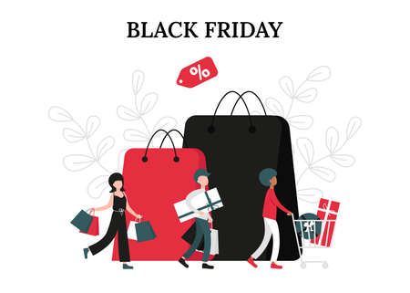 Black friday sale concept, happy group of people with shopping cart and bags. Flat vector cartoon modern illustration for banner, poster, template, layout. Stock Illustratie