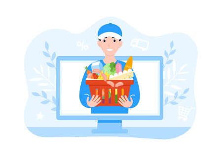 Delivery happy man courier with a basket of food. Concept for banner, poster, layout, website. Flat cartoon modern vector illustration. Shopping cart with products.
