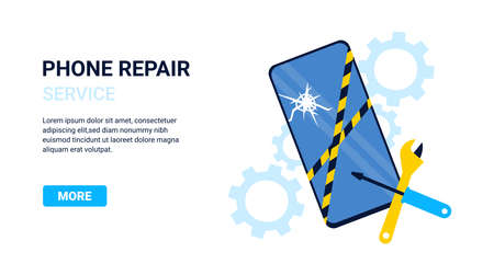 Flat concept phone repair for webpage, banner, presentation, poster, social media, website landing page. Vector illustration.