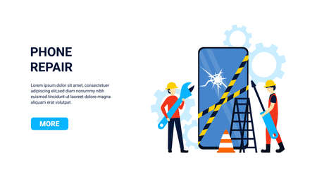 Flat concept phone repair with small people engineers for web page, banner, presentation, poster, social media, website landing page. Vector illustration. Stock Illustratie