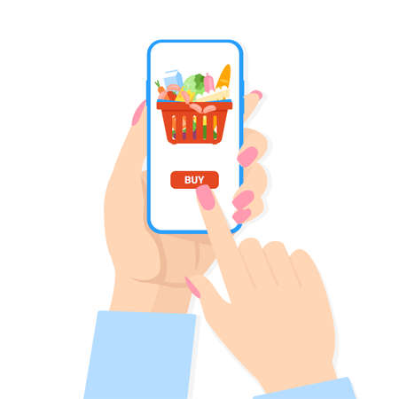 Woman hold phone and reserve food online. Flat vector illustration concept for banner, poster, layout, template, website.