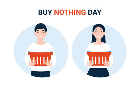 Buy Nothing Day BND, happy couple people with empty grocery cart. Concept of protest against consumerism.