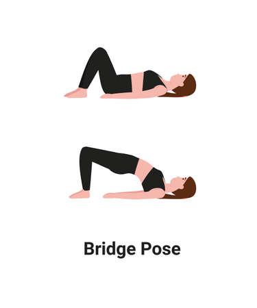 Woman do Setu Bandhasana or Setu Bandha Sarvangasana or Bridge Pose yoga for back pain. Flat vector cartoon isolated illustration. Stock Illustratie