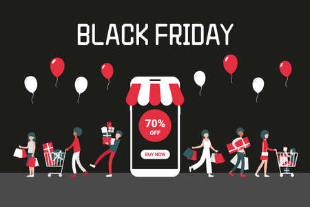 Black friday concept with phone on black background, people with shopping bags and cart. 70 off. Flat vector cartoon modern illustration for banner, poster, template, layout.