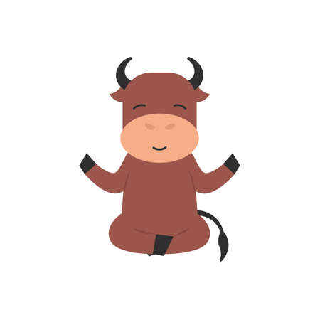 Happy cute character bull doing yoga pose, meditation, lotus pose. Flat vector cartoon illustration.