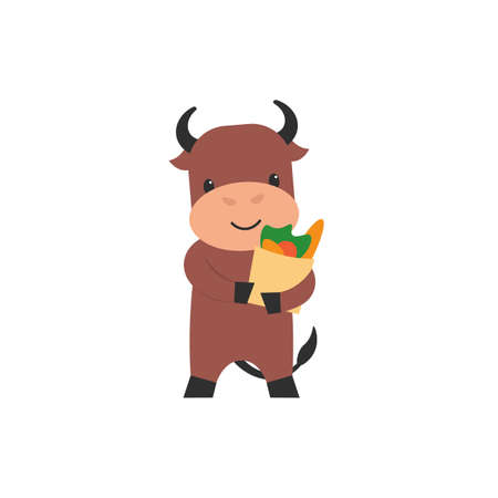 Happy cute character bull with shopping bag. Flat vector cartoon illustration.  イラスト・ベクター素材