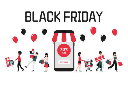 Black friday concept with phone on white background, people with shopping bags and cart. 70 off. Flat vector cartoon modern illustration for banner, poster, template, layout.