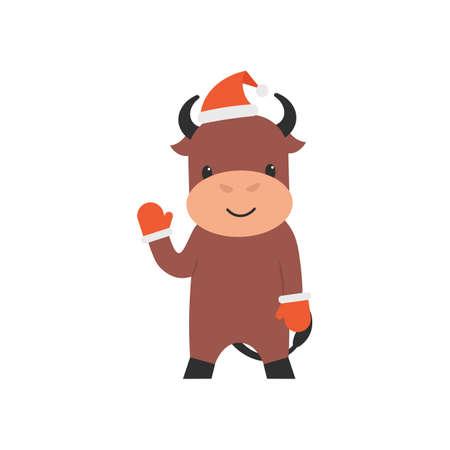 Character bull in christmas hat and gloves waving hoof. Flat vector cartoon illustration.