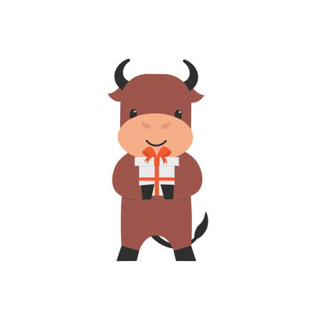 Happy cute character bull with present gift. Bull holds and gives a gift. Flat vector cartoon illustration.