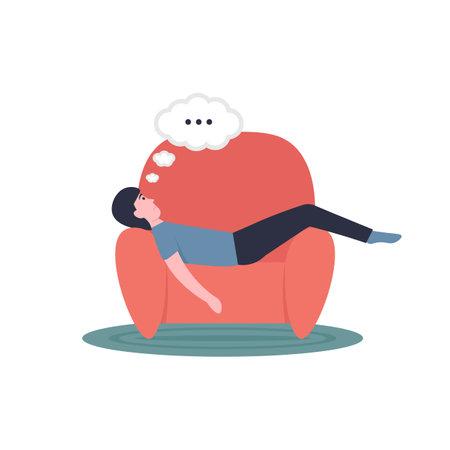 Lazy man lies on an armchair. Flat modern cartoon vector illustration.