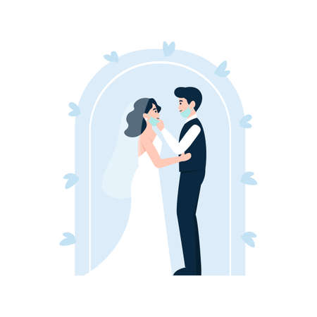 Groom takes off a bride's mask to kiss. Coronavirus wedding. Medical protective face mask at marriage. Flat vector cartoon illustration.