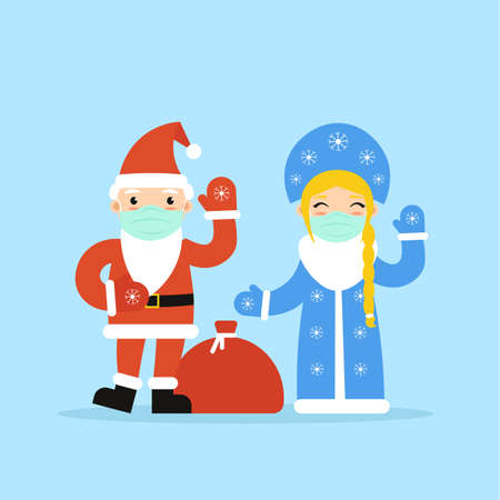 Russian flat characters Grandfather Frost Ded Moroz and granddaughter Snow Maiden Snegurochka in face masks waving hands, welcome. Xmas and New Year cute symbol isolated blue background.