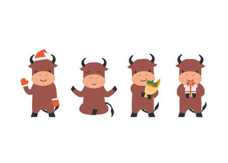 Happy cute character bull waving hoof, doing yoga pose, holds present gift and shopping bag. Flat vector cartoon illustration. Stock Illustratie