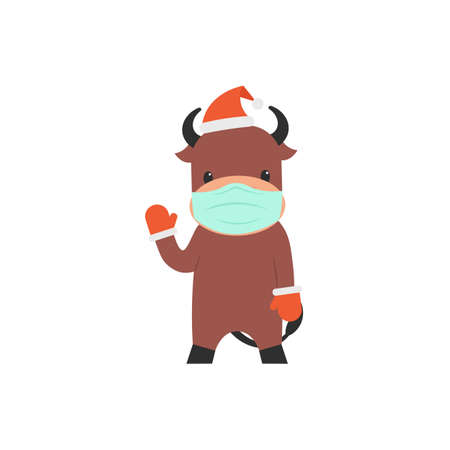 Character bull in christmas hat, gloves and face mask waving hoof. Flat vector cartoon illustration.