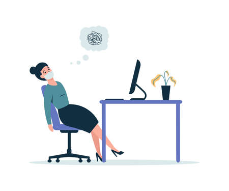 burned out business woman in the workplace, girl tired from working on computer. Flat vector cartoon modern illustration.