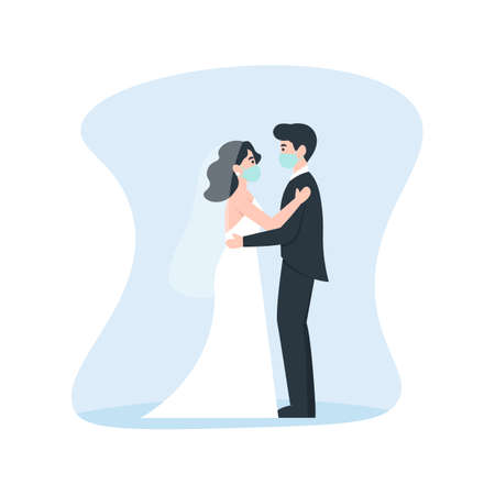 Bride and groom hugs in medical masks. Coronavirus wedding. Medical protective face mask at marriage. Flat vector cartoon illustration.