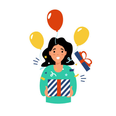 Cute girl holding present box with open mouth, received a gift for the new year. Flat vector cartoon modern illustration. Stock Illustratie