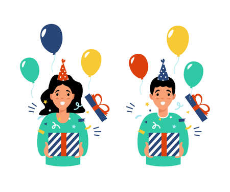Girl and boy holding present box with open mouth, received a gift for the birthday. Flat vector cartoon modern illustration.