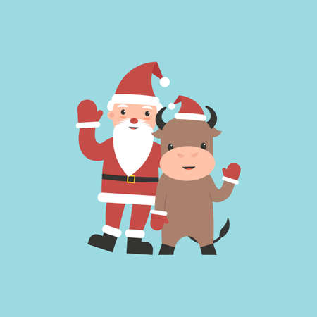 Character bull and Grandfather Frost waving hands. Xmas and New Year cute symbol isolated background. Flat vector cartoon modern illustration. Stock Illustratie