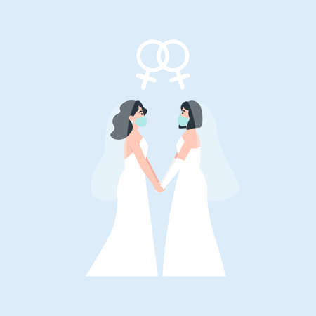 Two brides holding each other hands. oronavirus same love wedding. Medical protective face mask at marriage. Flat vector cartoon illustration.