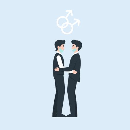 Two grooms in medical masks. oronavirus same sex love wedding. Medical protective face mask at marriage. Flat vector cartoon illustration. Stock Illustratie