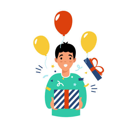 Man holding present box with open mouth, received a gift for the new year. Flat vector cartoon modern illustration.