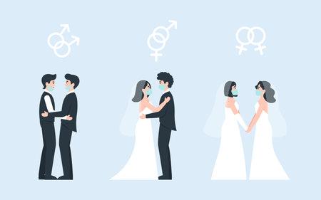 Set weddings love. Coronavirus same sex love wedding. Medical protective face mask at marriage. Flat vector cartoon illustration.