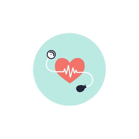 Blood pressure icon. Meter and pulse heart. Flat vector simple illustration.