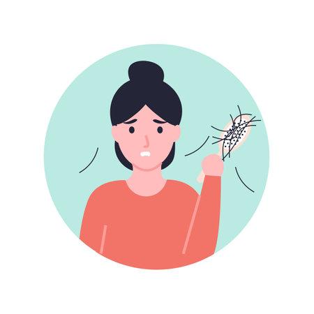 Sad woman holding comb looking at hair loss. Flat vector cartoon illustration. Stock Illustratie