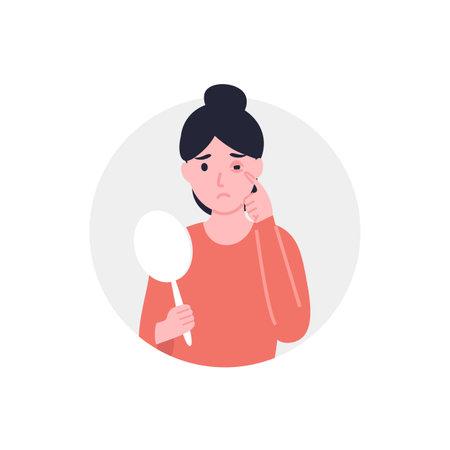 Conjunctivitis or pink eye of woman. Flat vector cartoon illustration.