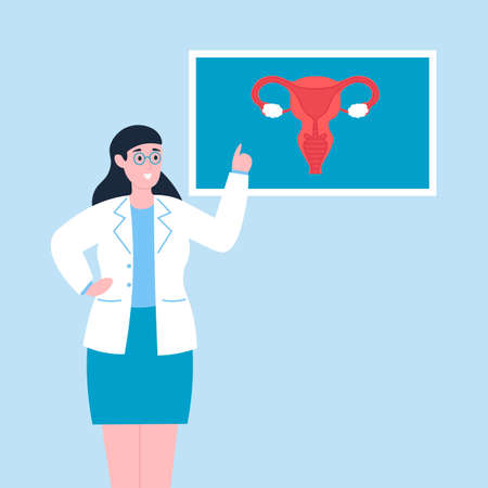 Female doctor gynecologist explaining reproductive system to patient. Flat vector cartoon illustration.