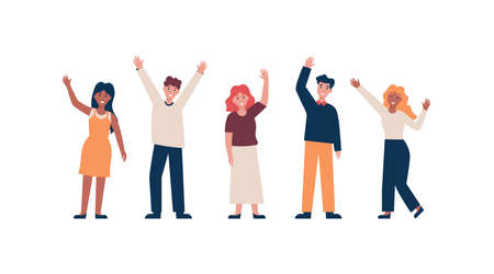 Set of different nationality people greeting gesture, waving hand. Flat vector cartoon illustration. Stock Illustratie