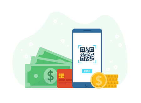Concept phone, scan QR code, money, credit card and coins. Barcode scanner technology. Flat vector cartoon illustration. Stock Illustratie