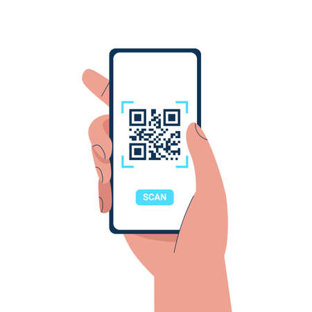 Man hand holding a phone and scanning QR code. Barcode scanner technology. Flat vector cartoon illustration. Stock Illustratie