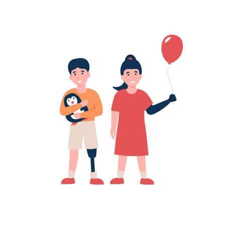 Happy disabled children. Kids with modern prosthetic hand and leg. Flat vector cartoon illustration. Stock Illustratie