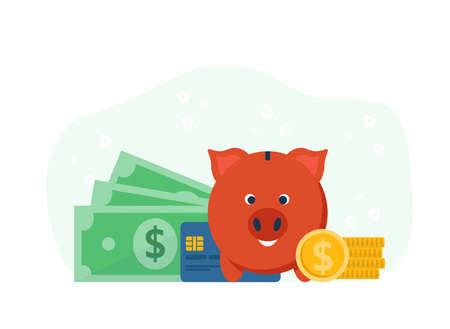 Accumulation of capital, piggy bank concept. Money management, investment, savings and accumulating coins. Flat vector cartoon modern illustration.