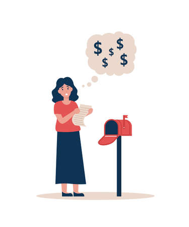 Woman with a check for payment stands near a home mailbox. Girl holding a big letter for high utility bills. Flat vector cartoon modern illustration.