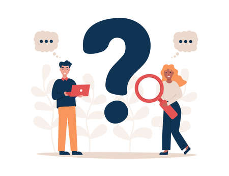 FAQ and QA flat vector illustration concept. People has a question. Flat vector modern illustration for landing page, template, web, app, poster, banner. Stock Illustratie
