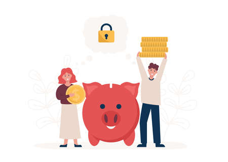 Young couple saving money, concept piggy bank. Money management, investment, savings and accumulating coins. Flat vector cartoon modern illustration. Stock Illustratie