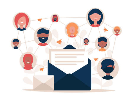 Social media network. People send letters each other. Internet connection with friends around the world. Flat vector illustration concept or landing page, template, web, app, poster, banner. Stock Illustratie