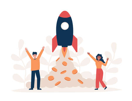 Business start up and financial growth. Successful teamwork and profit strategy. Flat vector modern illustration.