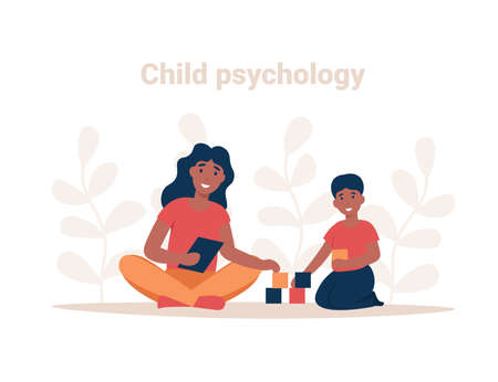 Psychotherapy session. Consulting psychology concept. Woman psychologist and child patient, society psychiatry flat vector illustration. Stock Illustratie