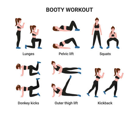 Set Booty or glutes workout without equipment. Stay home and do sport. Flat cartoon modern illustration.