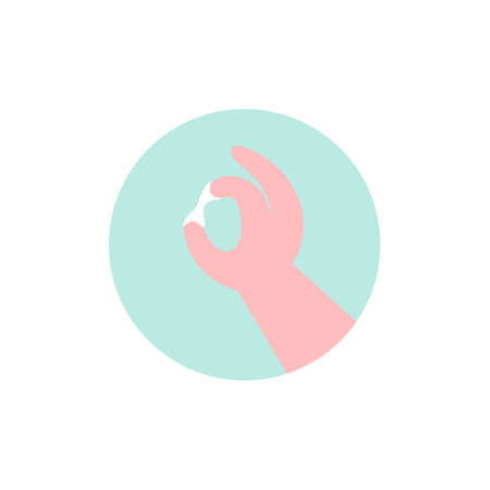 Vaginal discharge icon. Woman examines discharge. Flat vector illustration.