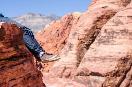 rock canyon: Man shoes outdoor travel on red rock canyon