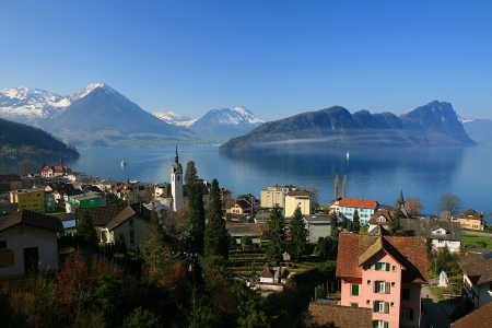 lucerne: Panoramic view of Lucerne lake from mount Rigi Stock Photo